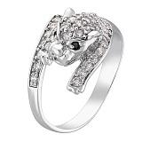 Серебряное кольцо с фианитами Леопард