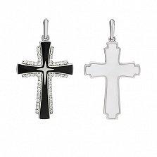 Крестик в белом золоте Доверие с эмалью и фианитами