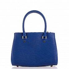 Кожаная деловая сумка Genuine Leather 8643 синего цвета с двумя отделениями
