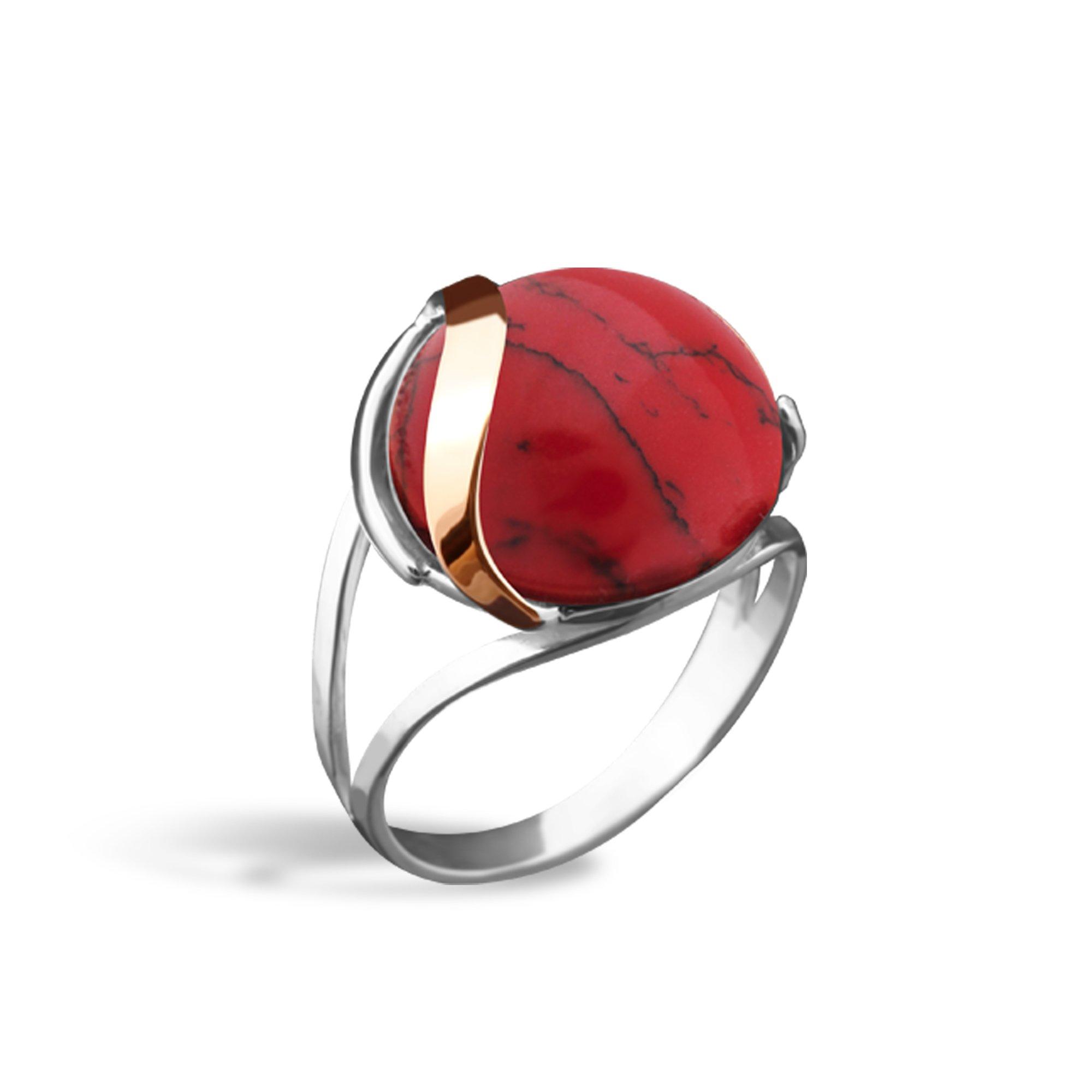 Серебряное кольцо Мишель с золотыми накладками и яшмой