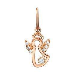 Кулон-ангел из красного золота с фианитами 000125336
