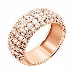 Кольцо из красного золота с фианитами 000004004