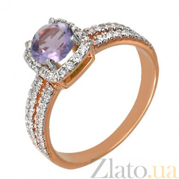 Золотое кольцо Сирень с цирконием VLT--ПМ1870