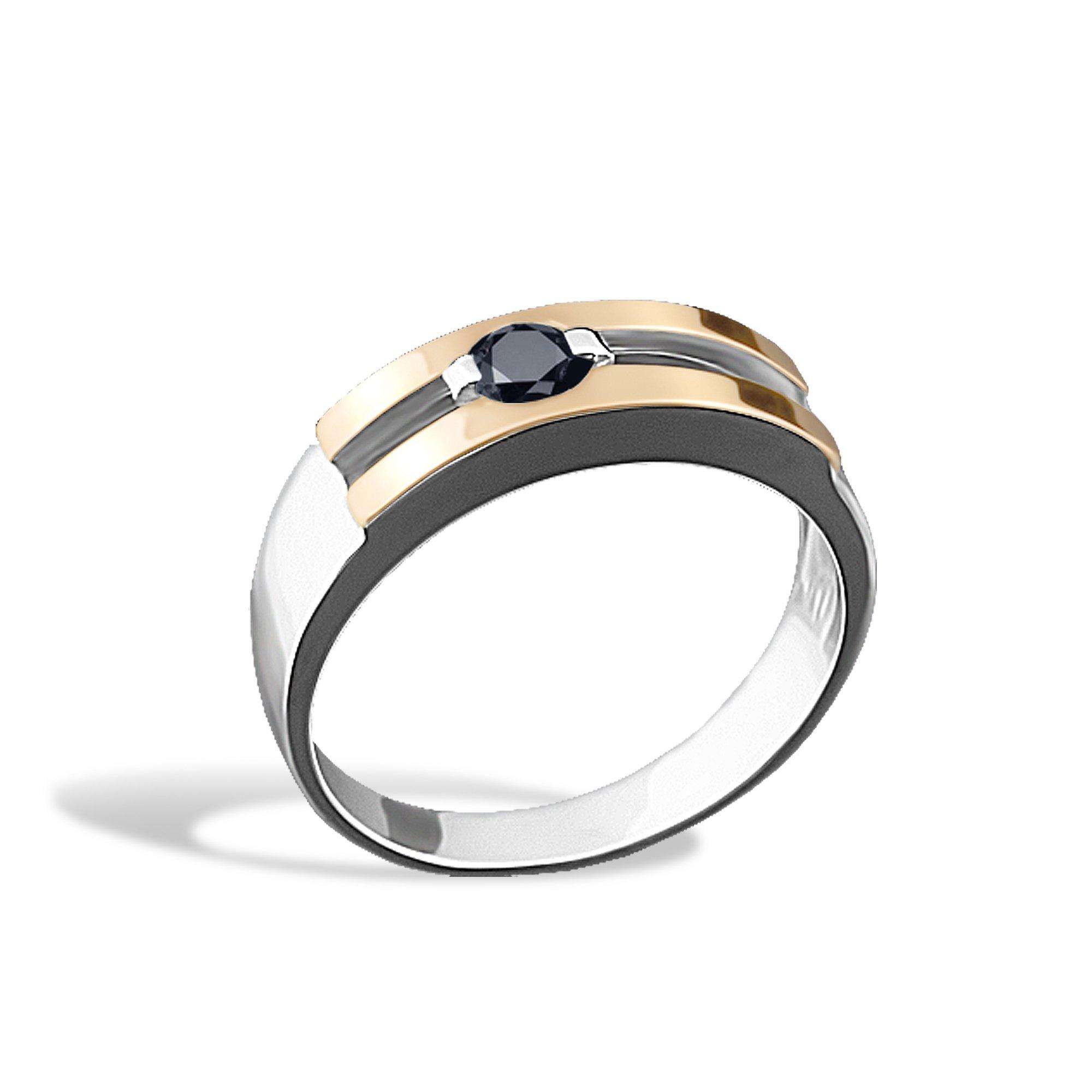 Серебряное кольцо Ленардина с золотой накладкой и черным фианитом