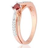 Позолоченное серебряное кольцо с красным фианитом Балет