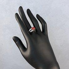 Серебряное кольцо Виола с узорами, кораллом и фианитами