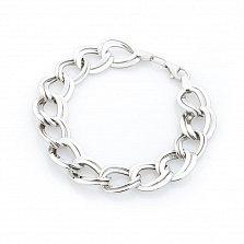 Серебряный браслет Ионит двойного панцирного плетения с крупными звеньями