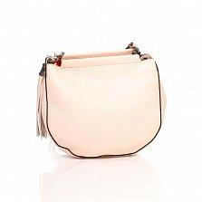 Кожаный клатч Genuine Leather 8887 нежно-розового цвета с замком-молнией и плечевым ремнем