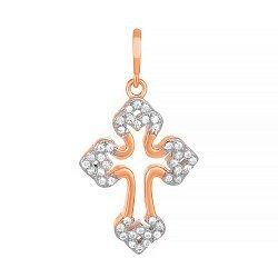 Серебряный крестик с кристаллами циркония Ажур 000034076