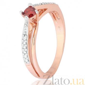 Позолоченное серебряное кольцо с красным фианитом Балет 000028202