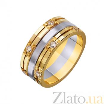 Золотое обручальное кольцо Доверие в комбинированном цвете с фианитами TRF--452719