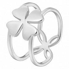 Кольцо Клевер в белом золоте