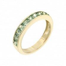 Кольцо из желтого золота Лунный свет с зелеными сапфирами