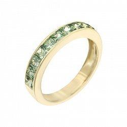 Кольцо из желтого золота с зелеными сапфирами 000105786