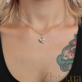 Серебряная подвеска Купидон с насечкой на крыльях и сердце 000079086