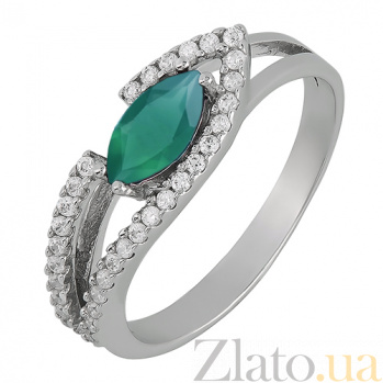 Серебряное кольцо Консуэлла с зелёным агатом 1605/9р зел агат
