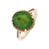Кольцо в красном золоте Регина с зеленым кварцем и фианитами