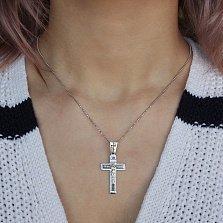 Крестик из серебра Силы Небесные с родированием