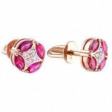 Серьги-пуссеты с розовым сапфиром и бриллиантами Amber