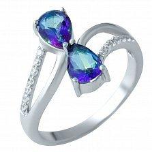 Серебряное кольцо Кассандра с топазом мистик и фианитами