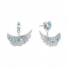 Серебряные серьги-джекеты Пара крыльев с усыпкой из топазов и фианитов