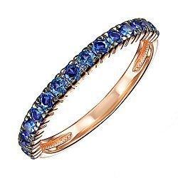 Кольцо из красного золота с синими фианитами и родированием 000138842