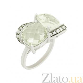 Серебряное кольцо с зеленым кварцем и фианитами Шакира 3К379-0014