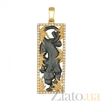 Золотая подвеска Пантера в желтом и черном цвете с фианитами VLT--А305-1