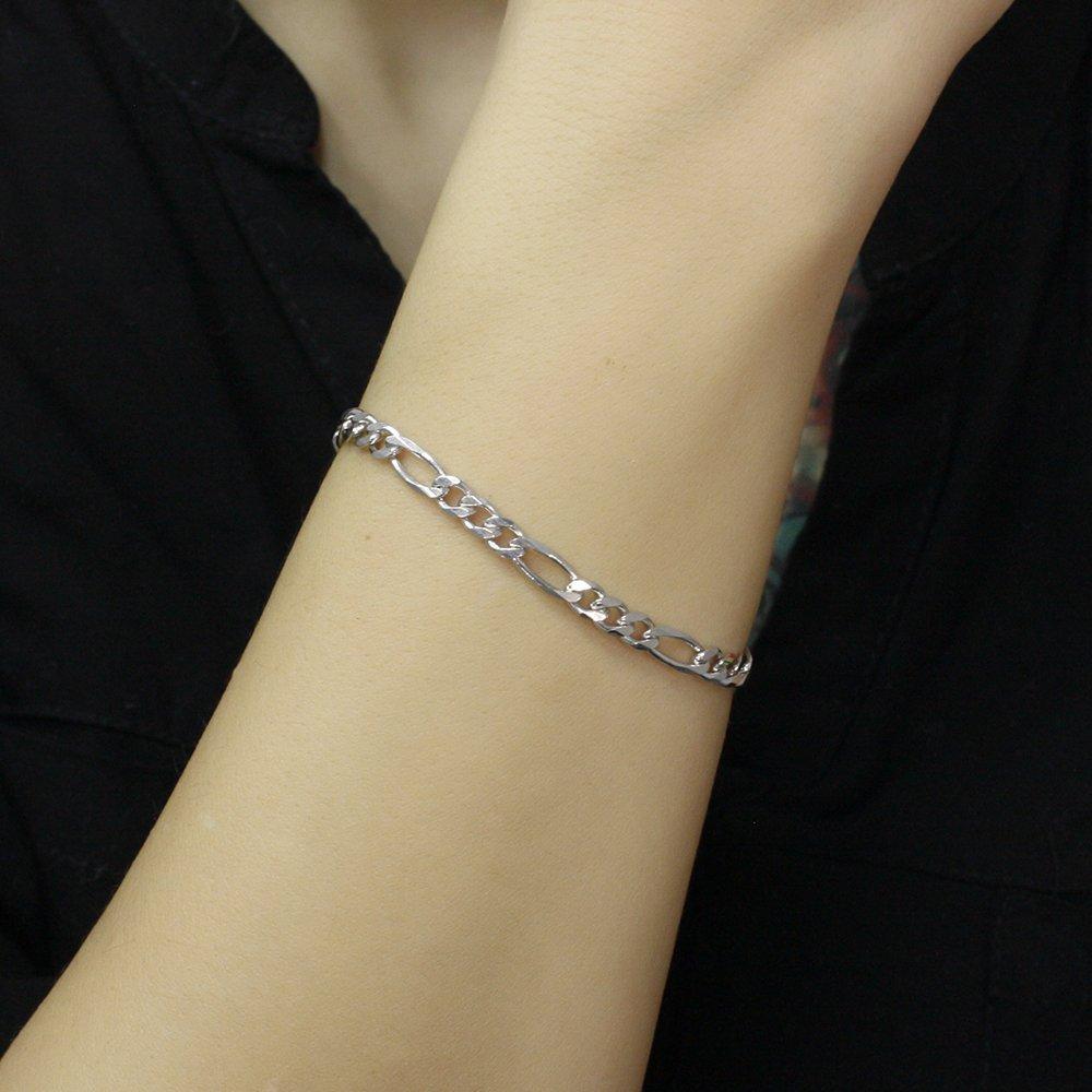 Серебряный браслет Даяна в плетении Картье с родием, 5мм