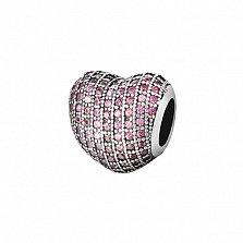 Серебряный подвес-шарм Любящее сердце с розовыми фианитами