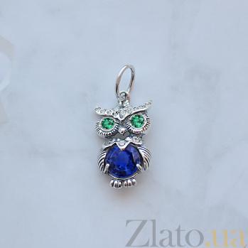 Серебряный кулон Строгая сова с синим, зеленым и белым цирконием 000082158
