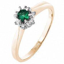 Золотое кольцо Альграна в красном цвете с изумрудом и бриллиантами