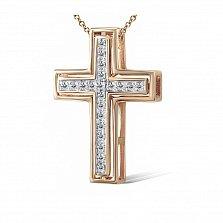 Крестик из красного золота Вера с бриллиантами