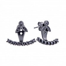 Серебряные серьги-джекеты Камала в черном цвете с черными фианитами