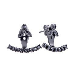 Серебряные серьги-джекеты в черном цвете с черными фианитами 000121384