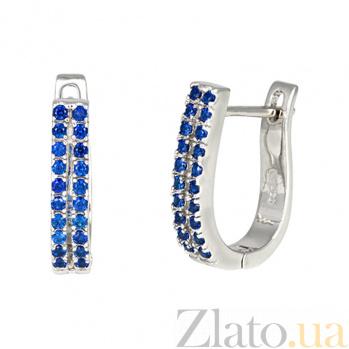 Серебряные серьги с синими фианитами Катрин SLX--С2ФС/332А
