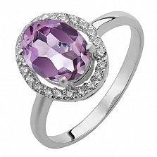 Серебряное кольцо аметистом и фианитами Верона