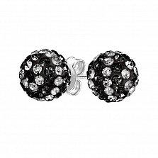 Серебряные пуссеты-шары Блеск с черными и белыми кристаллами Swarovski