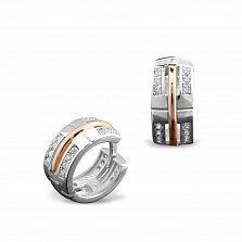 Серебряные серьги Армель с золотыми накладками и фианитами