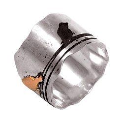 Кольцо из серебра Birds с золотой вставкой и чернением 000091443