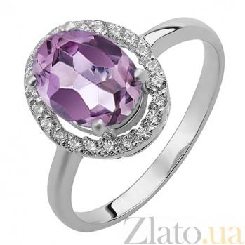 Серебряное кольцо аметистом и фианитами Верона 000032460