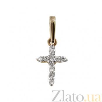 Крестик из красного золота Виола с бриллиантами 000026522