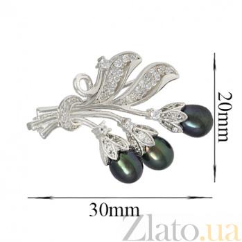 Серебряная брошь с жемчугом и фианитами Летняя гроздь 000027990