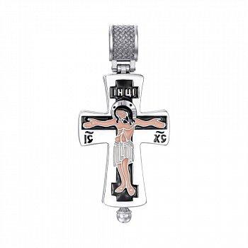 Серебряный раскрывающийся крестик с эмалью и молитвой 000138802