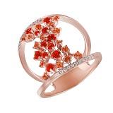 Золотое кольцо с бриллиантами, оранжевыми и желтыми топазами Феникс