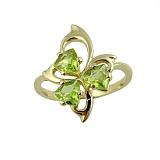 Золотое кольцо в жёлтом цвете с перидотами Аркадия