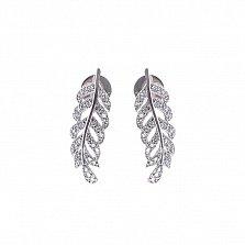 Серебряные серьги-пуссеты Сияющее перышко с белыми фианитами