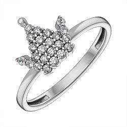 Серебряное кольцо-корона с фианитами 000148673