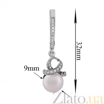 Серебряные серьги-подвески Канвалия с белым жемчугом и фианитами 2179/9р б жем