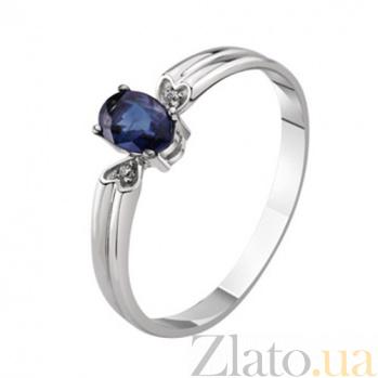 Золотое кольцо с сапфиром и бриллиантами Габриэлла KBL--К1024/бел/сапф